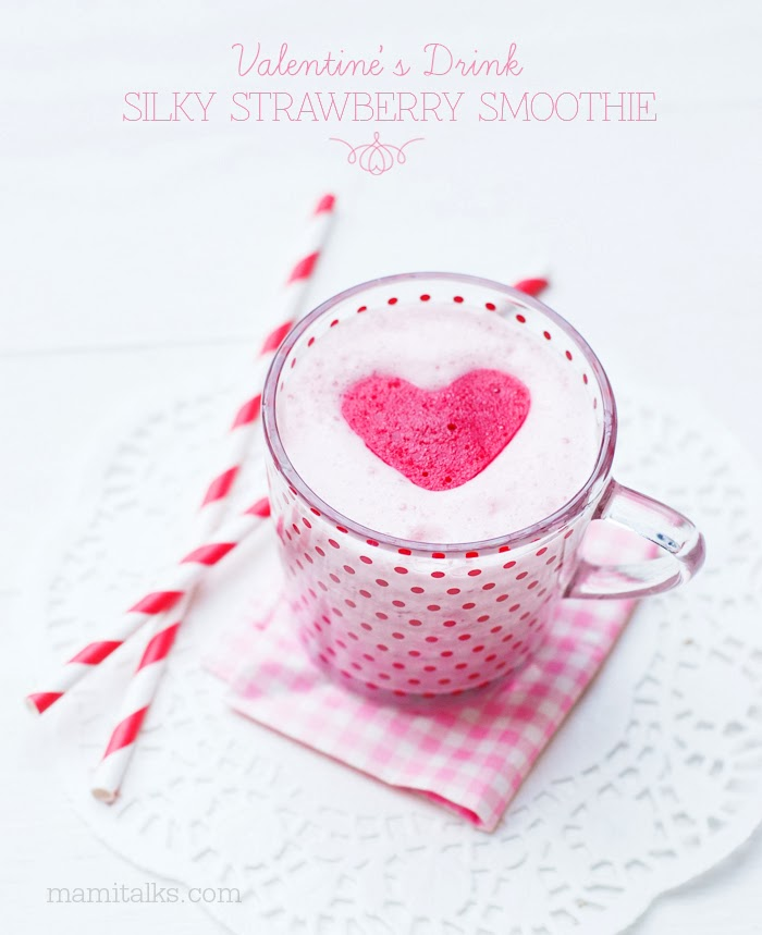 Valentine's Drink: Silky Strawberry Smoothie with Raspberry Ice Hearts