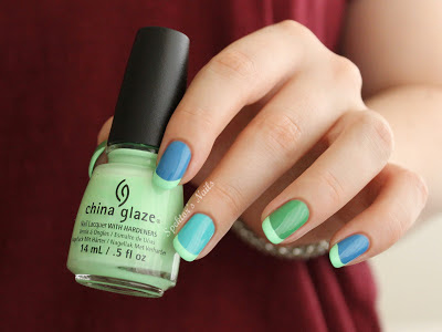 Mint Neon Funky French with China Glaze - Highlight Of My Summer