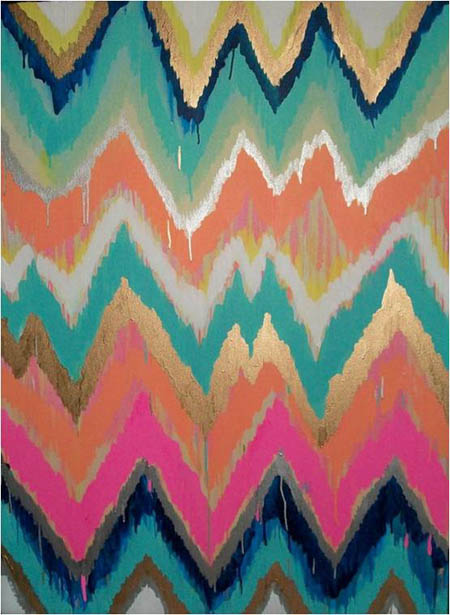 Art -  Ikat Chevron Painting, Jennifer Moreman