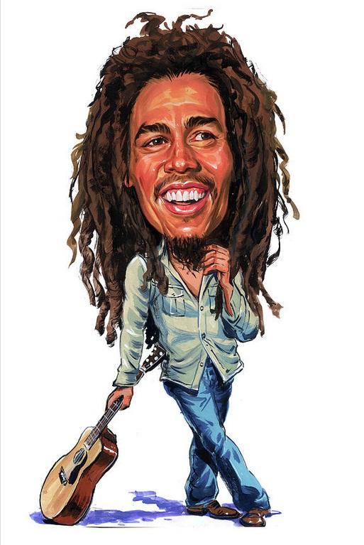 Bob Marley! com uma Guitarra apoiada no chão