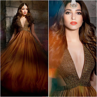 Tamanna Bhatia in a Deep Neck Designer gown for HELLO INDIA October 2015 Magazine Issue