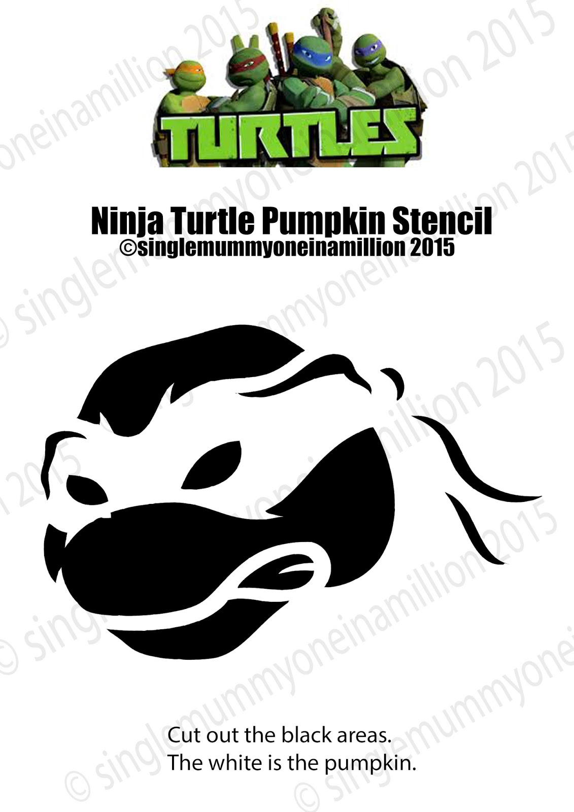single mummy; one in a million: ninja turtle pumpkin stencil