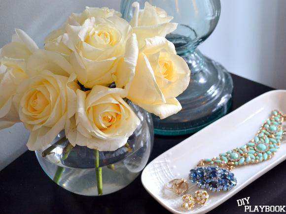 White Roses in Round Vase