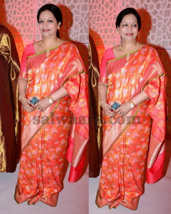 Peach and Benaras Silk Saree