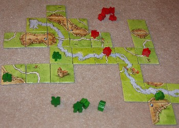 Close up of Carcassonne in play.