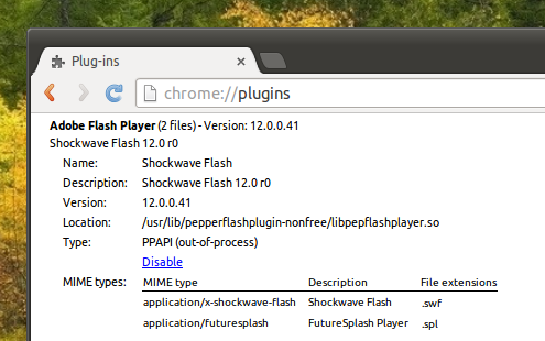 Pepper Flash Player Chromium Browser Ubuntu Trusty