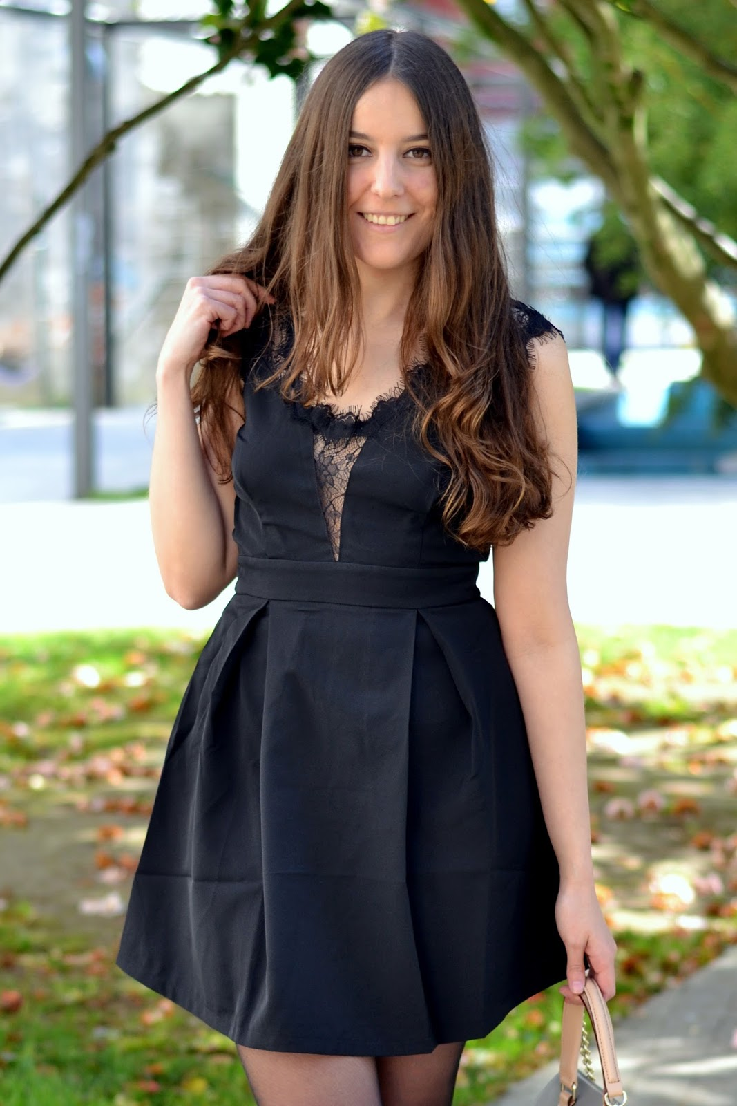perfect sheinside little black dress with lace details