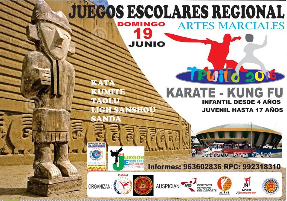 """JUEGOS ESCOLARES REGIONAL ARTES MARCIALES """"Trujillo 2016"""" Trujillo-Perù"""