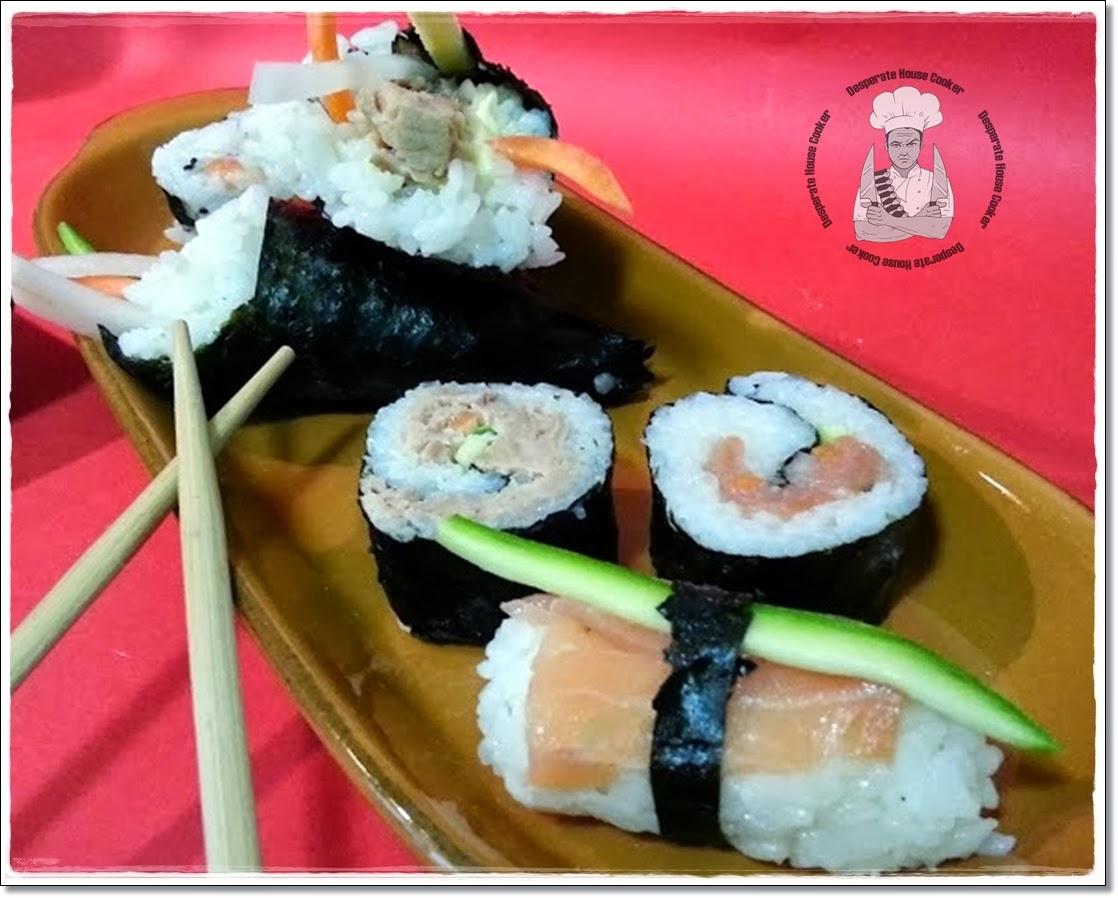 temaki al tonno, hosomaki e uramaki al salmone affumicato