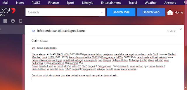 contoh format email claim siswa