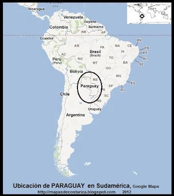 Ubicación de PARAGUAY en Sudamérica, Google Maps