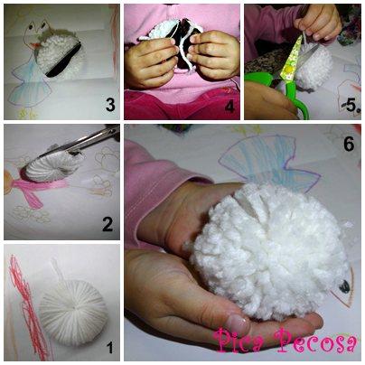 Haz una oveja con un pomp n de lana pica pecosa - Como hacer una oveja ...