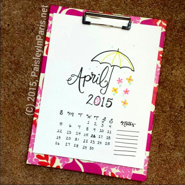 April 2015, hand-lettered calendar