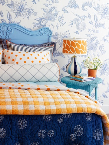 If You Have Navy Walls Add Some Orange Accessories To Excite The Room A Bit.