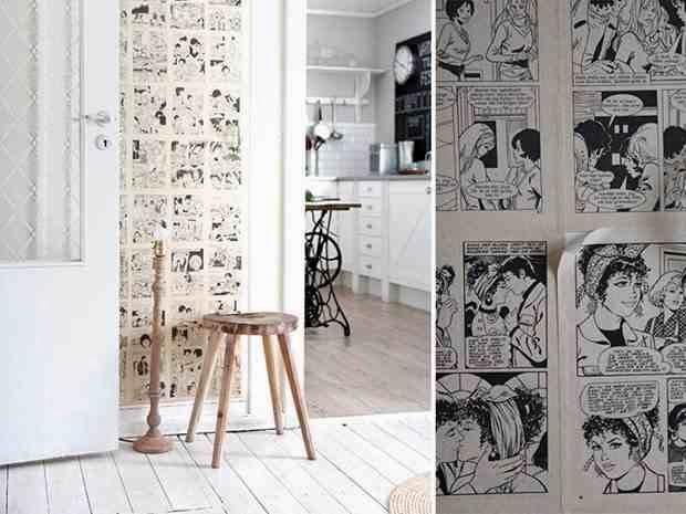 białe wnętrze, tapeta z komiksu, czarno-biały komiks na ścianie