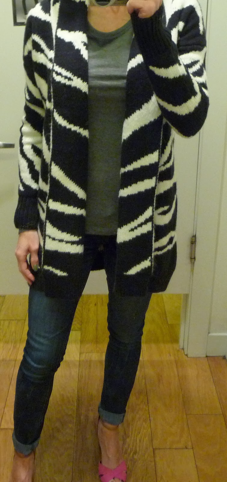 Express tiger stripe sweater coat, wool, oversize, animal print