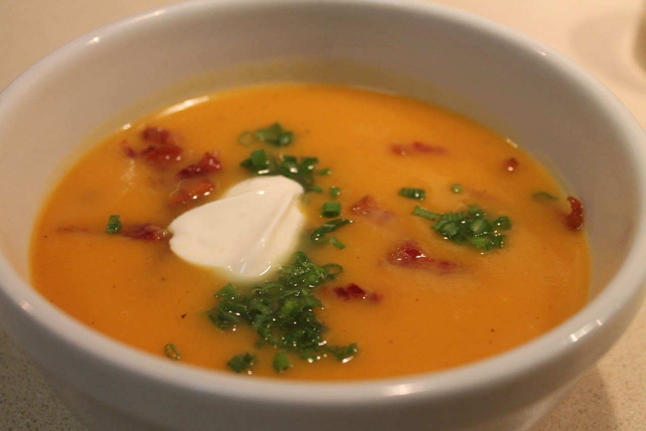 Cook In / Dine Out: Sweet Potato Soup with Bacon and Chives