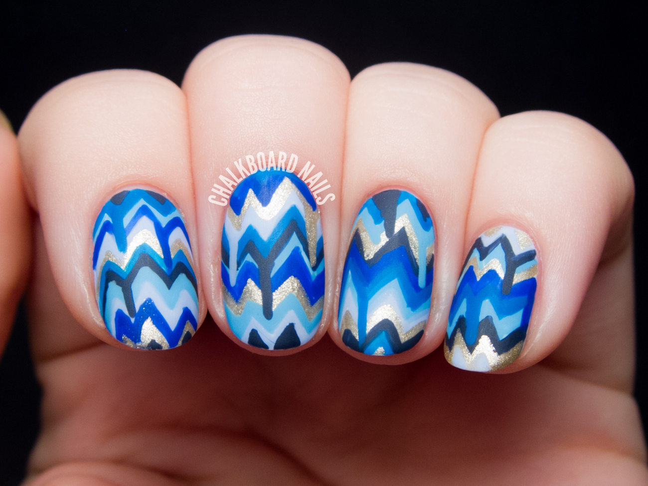 Blue Dripping Chevron Nail Art | Chalkboard Nails | Nail Art Blog
