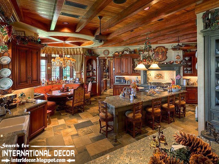 Mediterranean Palace in Florida, American Colonial style, classic kitchen with dining room