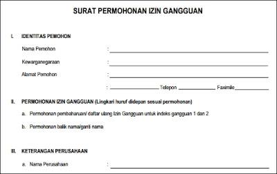 formulir surat izin gangguan HO