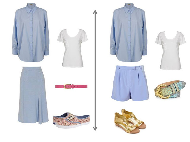 light blue blouse worn as a jacket over a white tee shirt with a light blue skirt, or a pair of light blue shorts