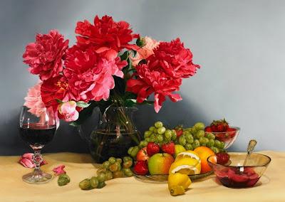 bodegon-realista-con-flores-al-oleo