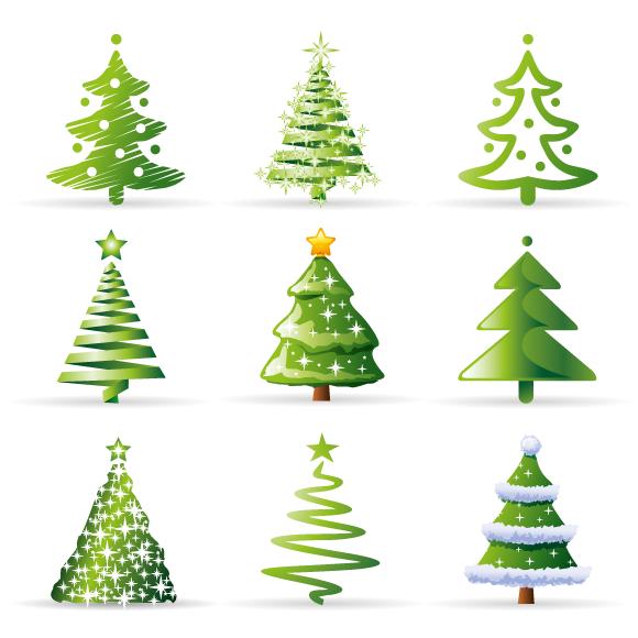 Iconos de Abetos de Navidad - vector
