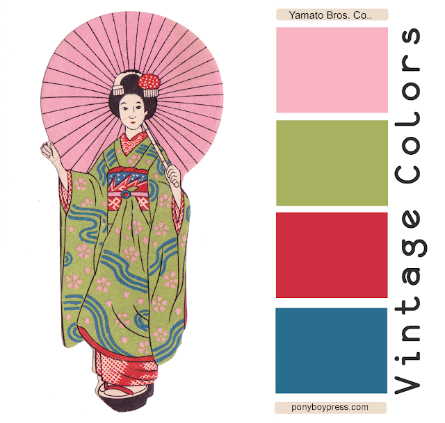Vintage Color Palette - Yamamto Bros Co. See blog for hex codes: ponyboypress.com