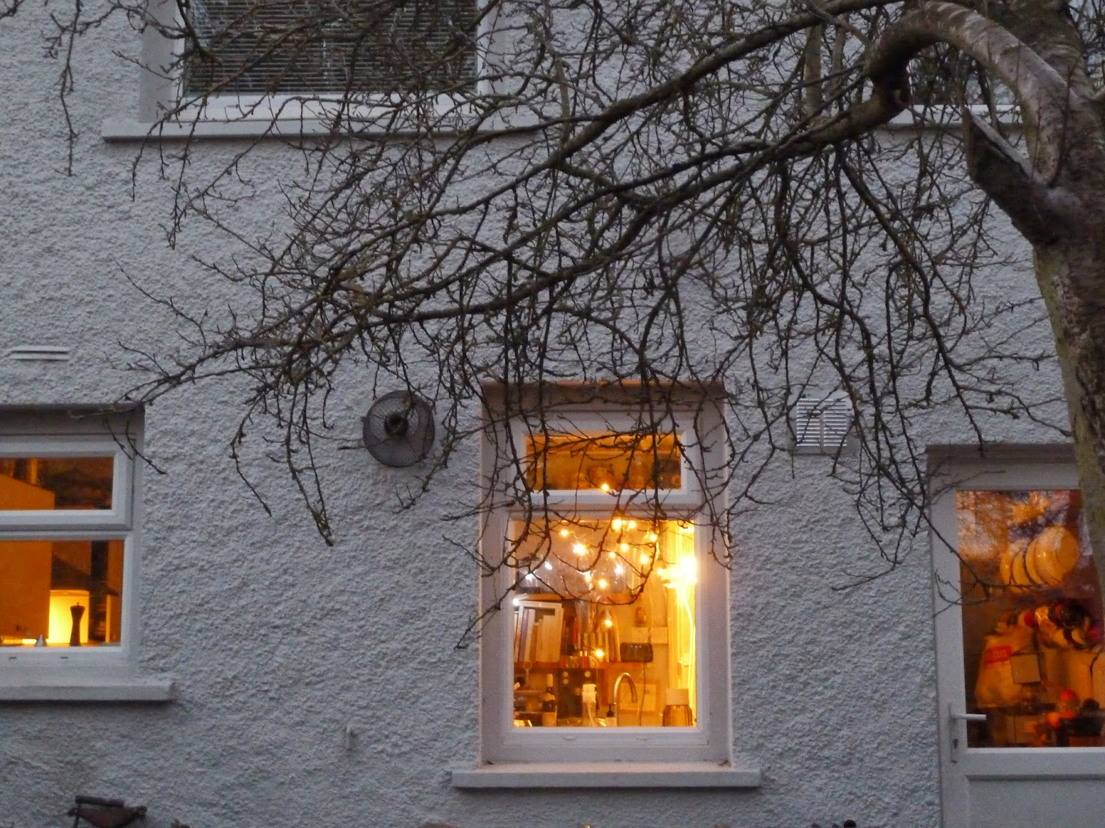 Cosy window with fairy lights