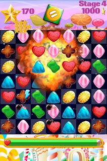 Screenshots of the Candy gems and sweet jellies for Android tablet, phone.
