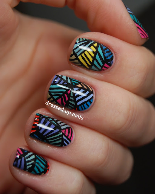Dressed Up Nails - Push-inspired geometric freehand nail art