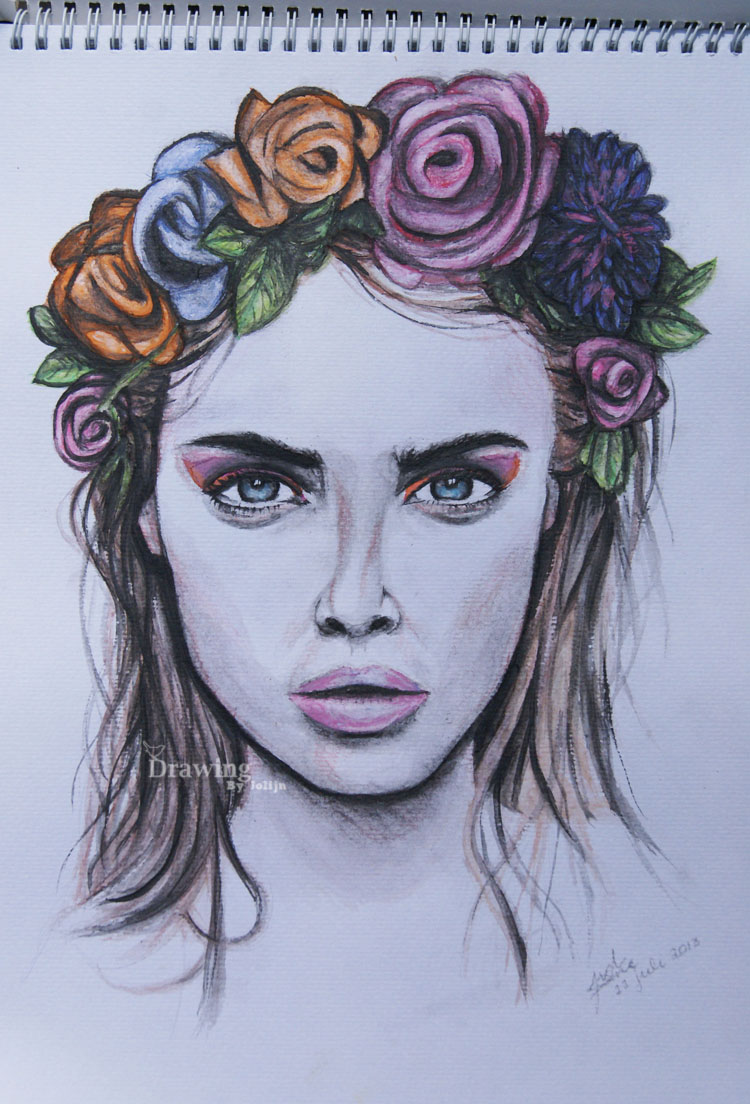 Girl with flower crown drawing - photo#18