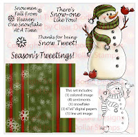 Snow Tweet (in Green) Digi Stamp and Paper Set