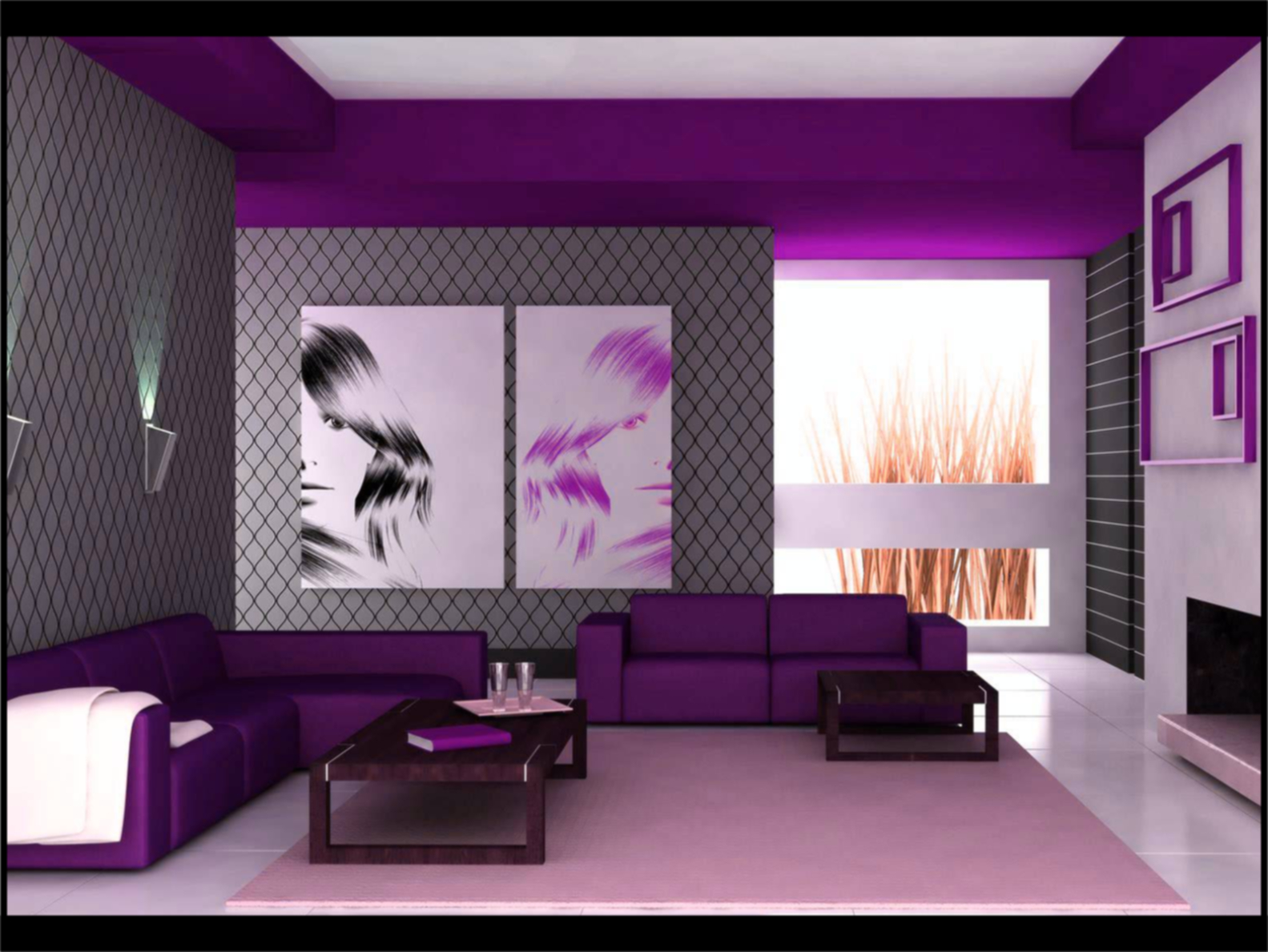 contoh cat rumah warna ungu