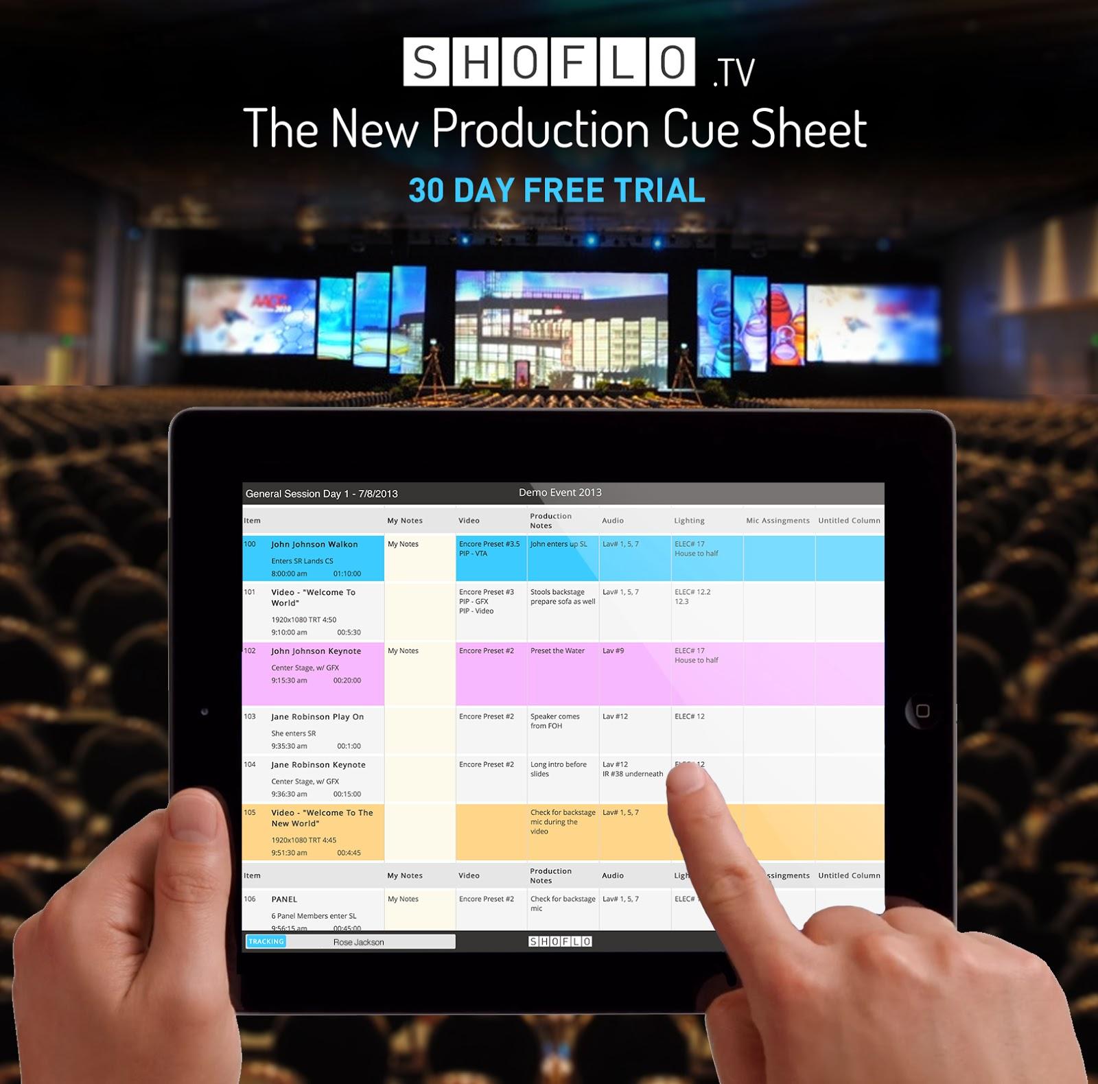 Shoflo Blog: Shoflo - A Cue Sheet App for Live Event Productions
