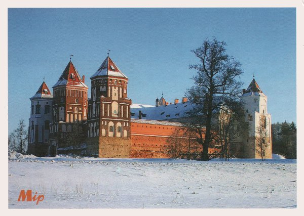 red brick castle in snow