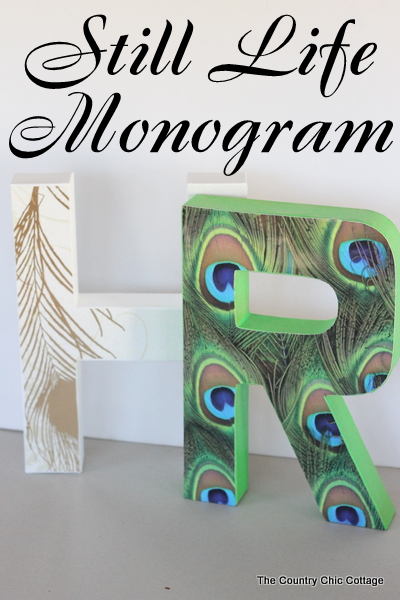 Still Life Monogram -- a copycat of the Anthropologie original but for a fraction of the price.  If you love that Anthro look in your home you will want to check out this great DIY tutorial on how to make you own still life monograms.
