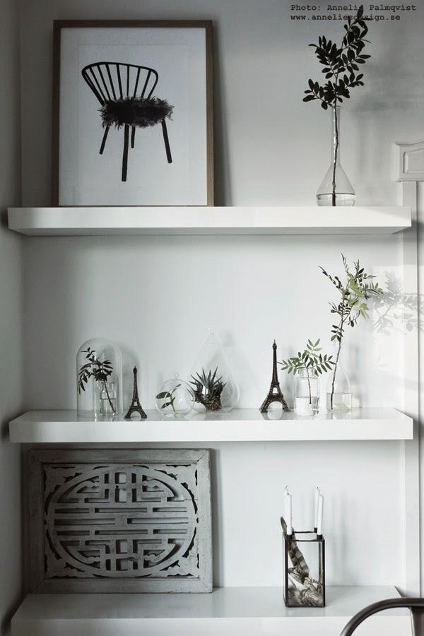 gröna växter, konsttryck, svarvit tavla, svartvita tavlor, artprint, artprints, poster, posters med stolar, vit hylla, eiffeltorn, kök