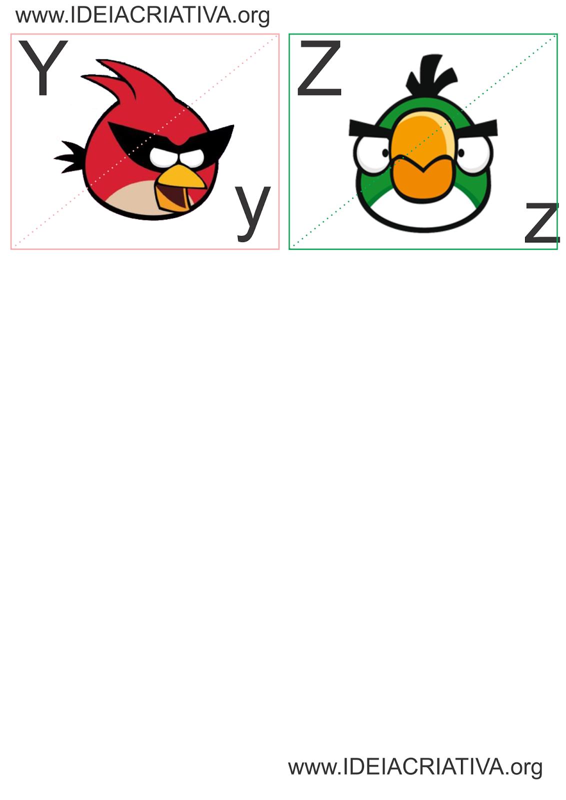Jogo de Encaixe Letras do Alfabeto Angry Birds