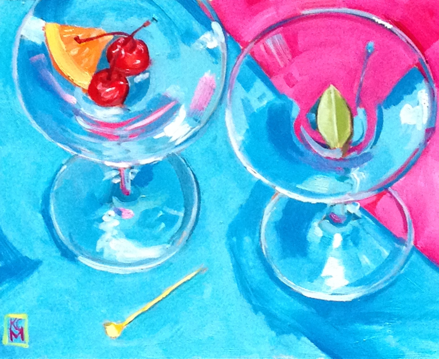 Kelley macdonald 39 s daily paintings cocktails for two for Paint and cocktails