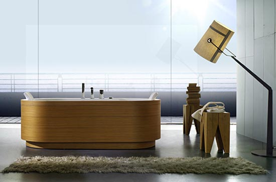 Baño De Tina Concepto:Wood Paneling Tub