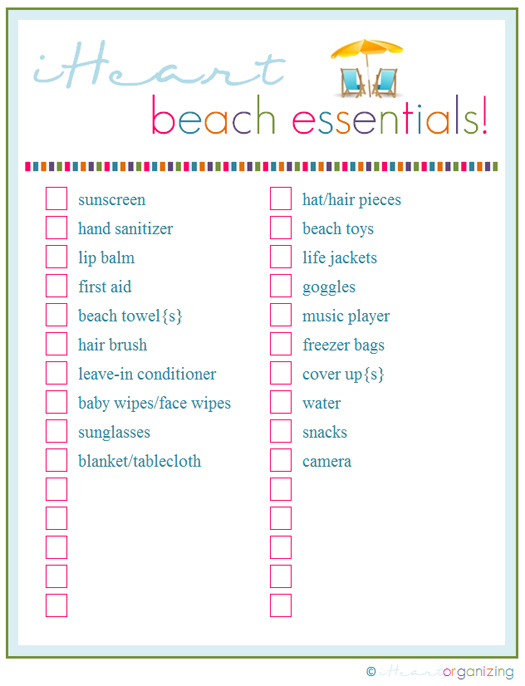 IHeart Organizing Free Printables – Sample Beach Checklist