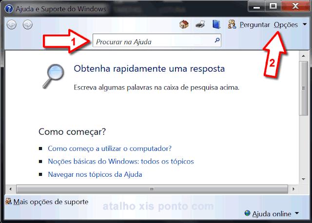 Janela e tecla de atalho da Ajuda no Windows