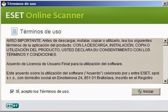 Términos de uso ESET Online Escáner