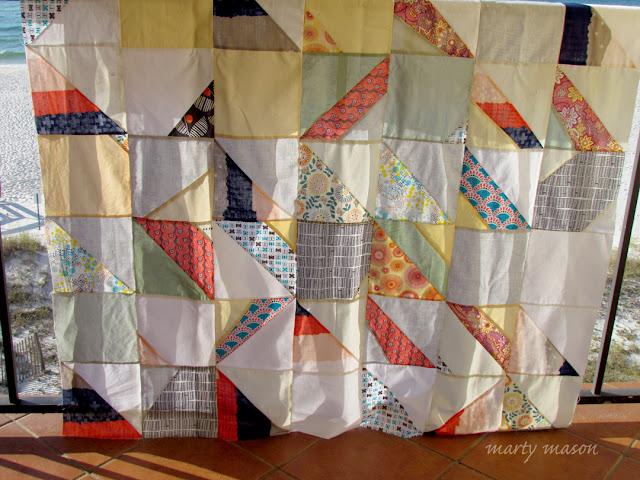 Improv sampler quilt made from leftover scraps