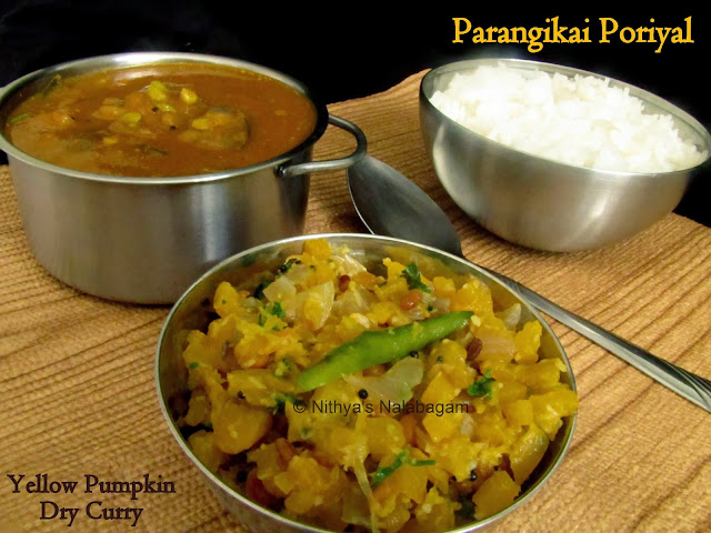 Parangikai Poriyal | Yellow Pumpkin Poriyal