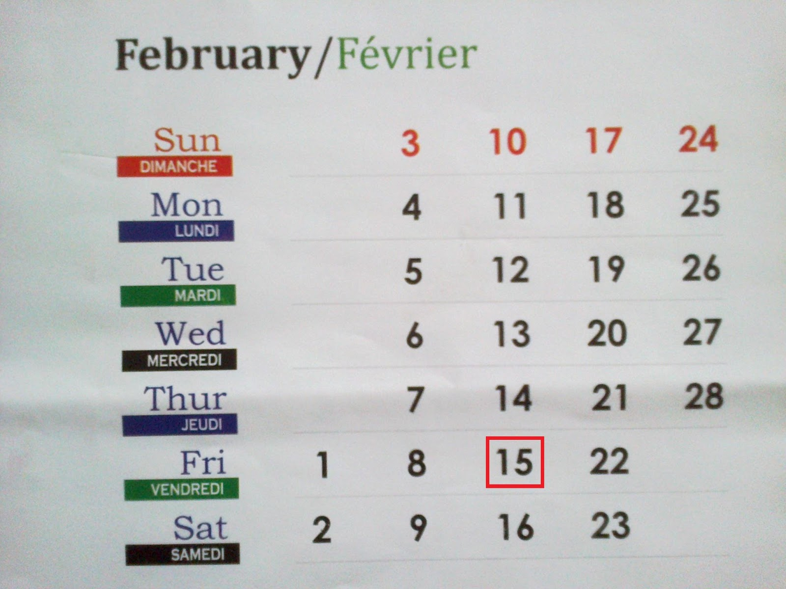 My Diary: Friday 15-02-2013