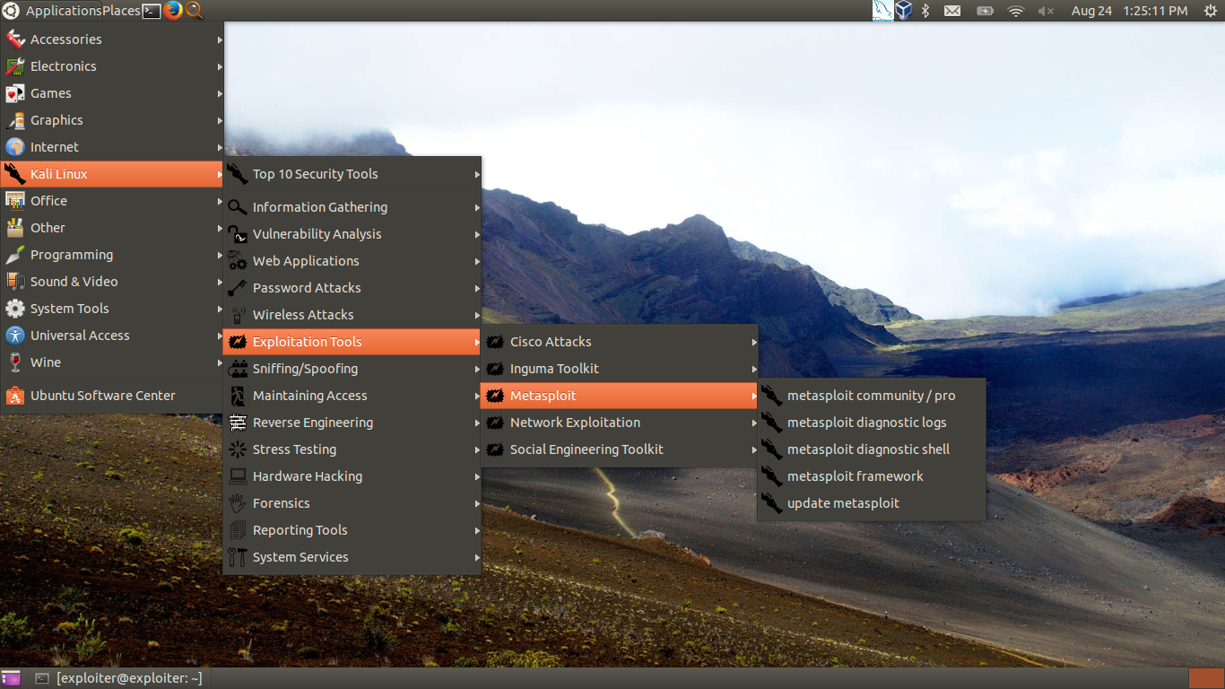gnome menu screenshot