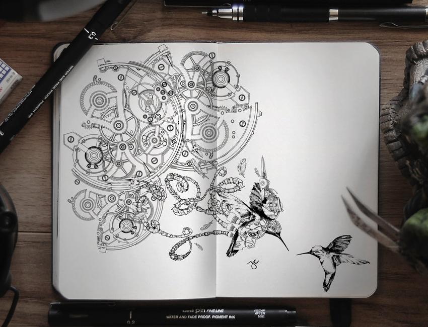 11-Gears-of-Life-2-0-Joseph-Catimbang-Pentasticarts-Metaphysical-and-Surreal-Doodle-Drawings-www-designstack-co