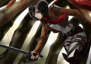 Attack on Titan Shingeki no Kyojin Mikasa Ackerman Anime Sword Blade HD Wallpaper Desktop PC Background